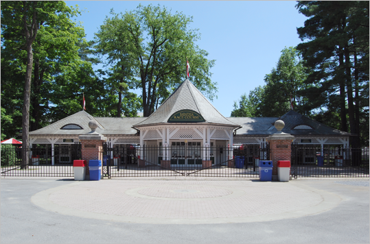 Saratoga Race Course Location: Saratoga Springs, N.Y. Opened: 1863 Before Churchill Downs, there was Saratoga Race Course. It is the oldest organized sporting venue in the US. It also hosts the Travers Stakes, which is the oldest major thoroughbred horse race in the US.