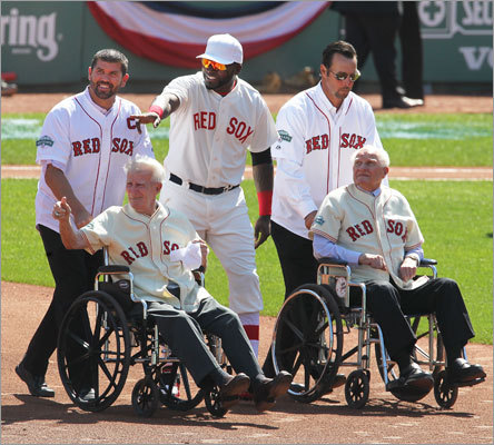 Jason Varitek (1997-2011) and David Ortiz escorted Johnny Pesky (1942-52) while Tim Wakefield (1995-2011) escorted Bobby Doerr (1937-51) on and off the field for the Fenway Park 100-year celebration.