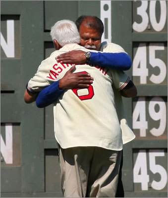 Reggie Smith (1966-73) got a big hug from Carl Yastrzemski.