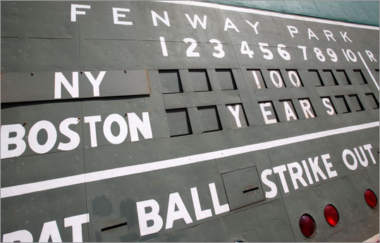 The Green Monster scoreboard at Fenway Park is seen before the 100th anniversary.