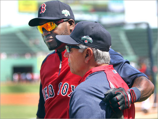 David Ortiz hugged manager Bobby Valentine before he took batting practice, trying to focus on the game before the 100th celebration began.