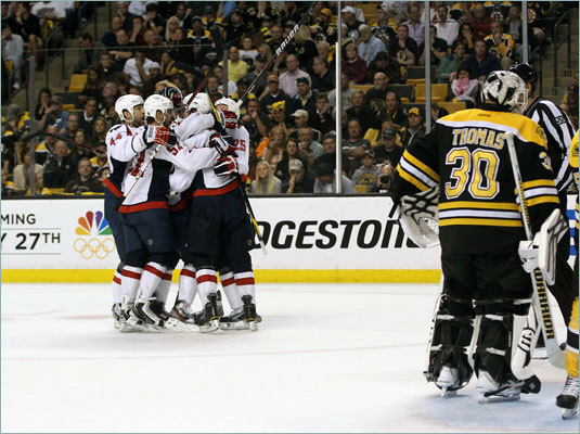 The Washington Capitals beat the Bruins 4-3 Saturday in Game 5 of the Eastern Conference quarterfiinals, taking a 3-2 lead in the seven-game series. Here, the team celebrates a goal by Jay Beagle in the second period.