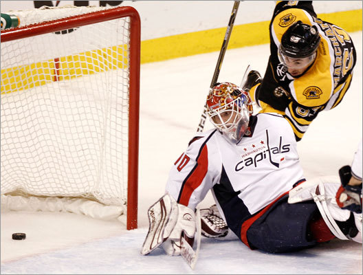 The Bruins' Brad Marchand scored on Washington Capitals goalie Braden Holtby during the second period.