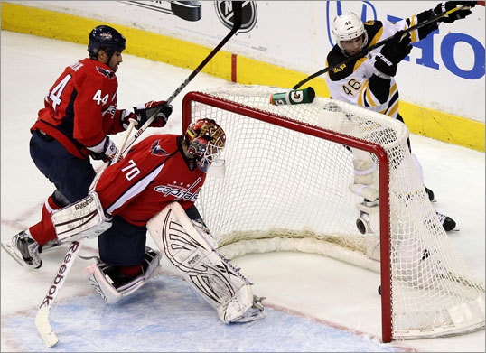 Capitals goalie Braden Holtby (70) got a good look at Bruins center David Krejci (46), whose goal gave Boston a 2-1 lead during the first period.