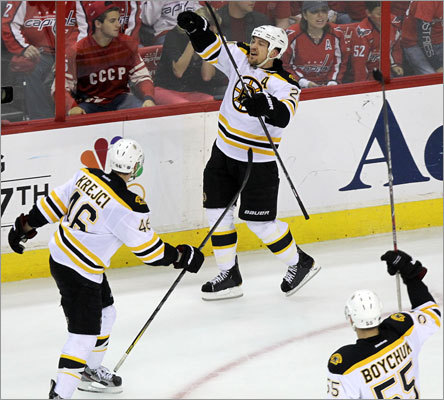 Bruins defenseman Andrew Ference celebrated after putting the Bruins up 3-2 with a goal in the third period.