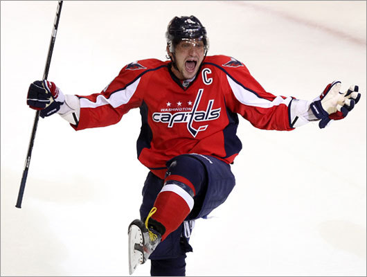 Capitals left winger Alex Ovechkin celebrated after tying the game, 3-3, in the third period. The Bruins had three one-goal leads erased in the game before finally winning.