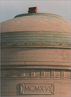 A piano sat atop the Great Dome at Killian Court on May 21, 1996.