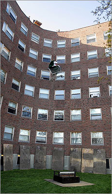 Students threw a large stuffed bear in a shopping cart off the roof of an MIT dormitory prior to the dropping of the baby grand piano in 2008.