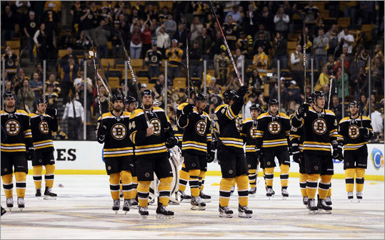 The Bruins saluted their fans at TD Garden after Game 7 of their playoff series against the Capitals.