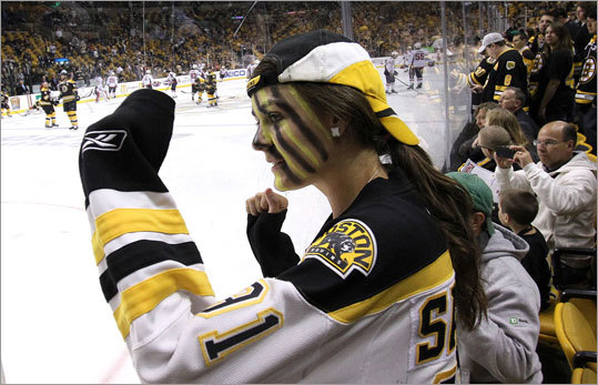 Gabby Starkey of Sudbury wore the team colors to support the Bruins in Game 7 of their first-round NHL playoff series vs. the Washington Capitals Wednesday night at TD Garden.