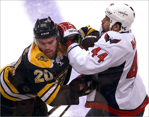 Daniel Paille and the Bruins battled Roman Hamrlik and the Capitals in Game 7 of their first-round NHL playoff series Wednesday night at TD Garden.