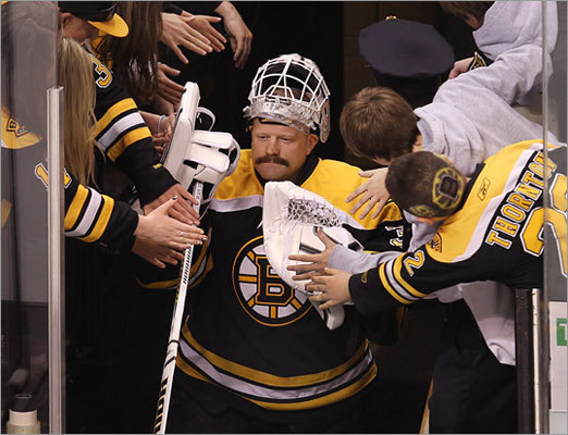 Goalie Tim Thomas and the Bruins were pushed to a deciding seventh game for the fourth time in their last five playoff series.