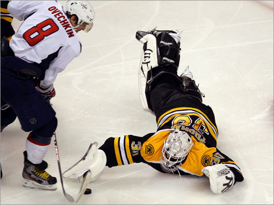 Bruins goalie Tim Thomas went to great lengths to deny Capitals forward Alex Ovechkin in the second period.