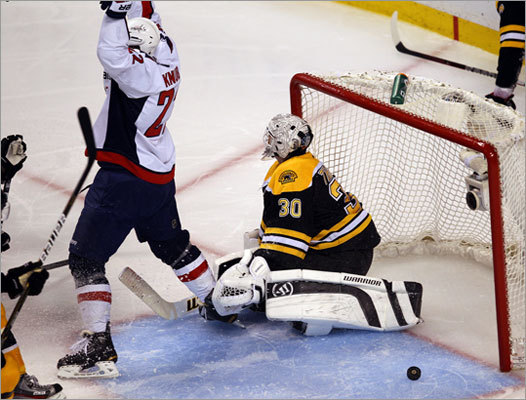 Capitals forward Mike Knuble started the celebration after Joel Ward scored the game-winning goal in Game 7 of the Capitals-Bruins first-round playoff series at TD Garden. Ward's goal in overtime lifted the Capitals to a 2-1 victory and eliminated the defending Stanley Cup champion Bruins.