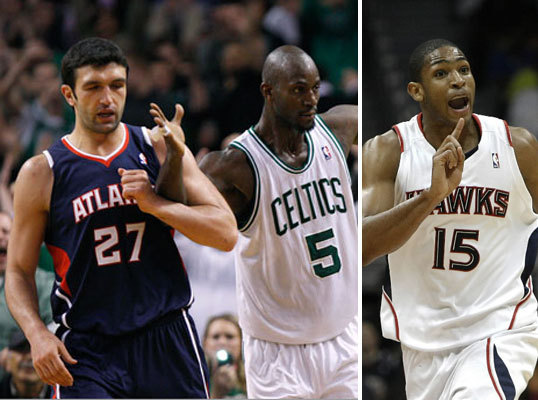 2. Hawks are short on bigs Those of you expecting to see the always highly-entertaining matchup between Zaza Pachulia (left) and Kevin Garnett might be disappointed, as Pachulia is likely out with a foot injury. Hawks starting center Al Horford (right) is out with a torn pectoral muscle. That makes the Hawks a prime opponent for the Celtics, who really only go three big men deep with Garnett, Brandon Bass, and Greg Stiemsma. Rookie Ivan Johnson will need to come up big for Atlanta.