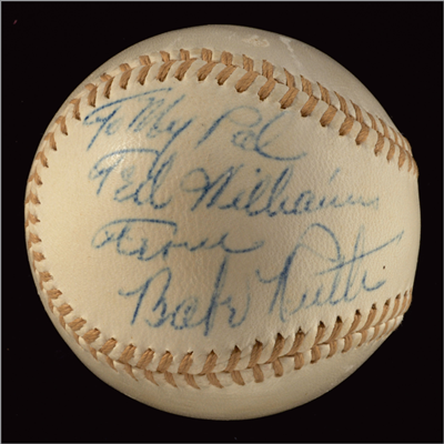 Babe Ruth signed baseball inscribed to Ted Williams Williams asked Ruth for his autograph on a baseball July 12, 1943 at Fenway Park. Ruth obliged and wrote, 'To My Pal Ted Williams From Babe Ruth.' This occasion was the only time Ruth and Williams were photographed together in their respective Yankees and Red Sox uniforms. Estimated value: Upon request