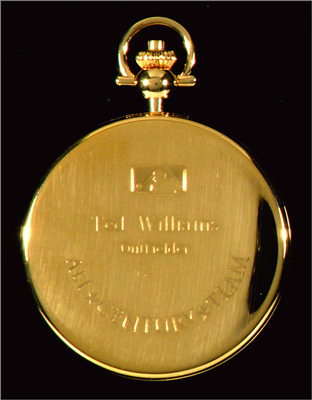 MLB 'All-Century Team' pocket watch by Tiffany & Co. Exceptional quality gold pocket watch as commissioned by Major League Baseball to be given to players and/or their respective families in honor of selection to the All Century Team in 1999. Selected through a voting process by fans and baseball historians, the team honored the greatest 100 players of the past century. Williams was voted in the group with one of the four highest vote totals among elected players. Estimated value: $10,000-$20,000