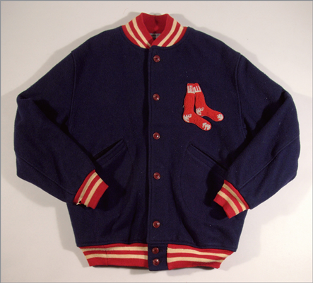 Red Sox professional model warm up jacket This original wool warm up jacket was worn by Ted Williams. The collar has its original Tim McAuliffe manufacturing label along with an embroidered Red Sox logo patch on the breast area. Many of the photographs at the auction show Williams wearing a similar jacket. Estimated value: $20,000-$30,000