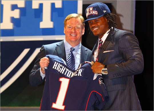 Dont'a Hightower Position: Linebacker School: Alabama Drafted: Round 1, 25th pick Hightower (6-2, 265 pounds with 4.68 speed) played inside linebacker for the Crimson Tide, but he can play a variety of positions for the Patriots. He can also put his hand on the ground and rush in nickel and dime packages, writes Globe NFL reporter Greg Bedard.