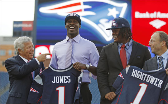 The Patriots not only used both of their selections in the first round of the NFL Draft, they traded up on both picks to choose the players they wanted -- Chandler Jones of Syracuse (left) and Dont'a Hightower of Alabama. It was widely speculated prior to the draft that New England would trade one or both of its first-round picks for additional picks later in the draft. Scroll through the gallery to learn more about the players the Patriots chose in the 2012 draft.