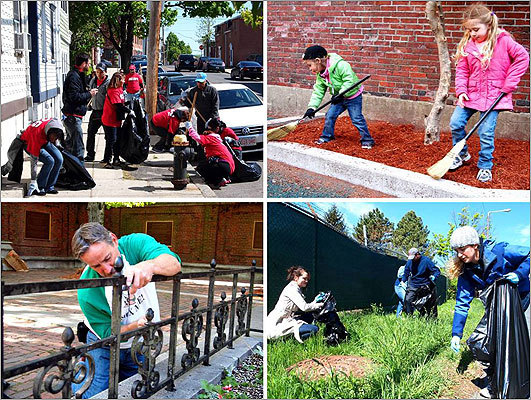 On Saturday, April 28, volunteers across Boston picked up litter, painted fences, added mulch to tree pits, and otherwise made the city look spiffier for the 10th Annual Boston Shines neighborhood cleanup effort.