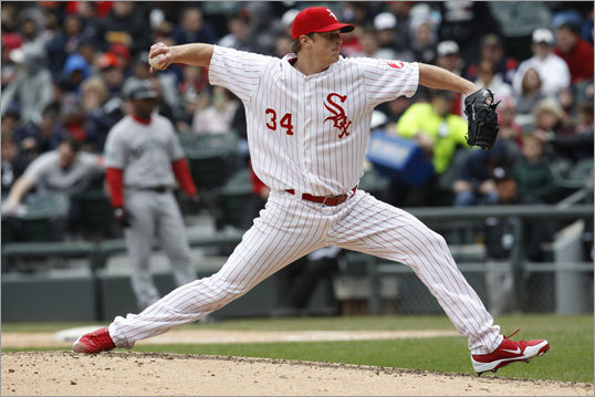 Beckett settled down after a rough first inning, but White Sox starter Gavin Floyd was downright dominant. Floyd had a no-hitter going through six innings. While Dustin Pedroia broke up the no-hit bid, Floyd improved to 7-0 in his career against the Red Sox.