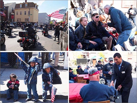 Boston's Second Annual Wounded Vet Ride from Everett to East Boston drew an estimated 1,200 cyclists for the motorcycle rally on Saturday, and hundreds more joined them for a post-ride barbecue and ceremony at the Italian American War Veterans Post 6 outside Maverick Square.