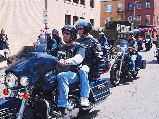 The first group of bikers arrived at the Paris Street headquarters of the Italian American War Veterans Post 6. Bikers from clubs all around Eastern Massachusetts participated in the ride to raise money for wounded veterans of Iraq and Afghanistan.