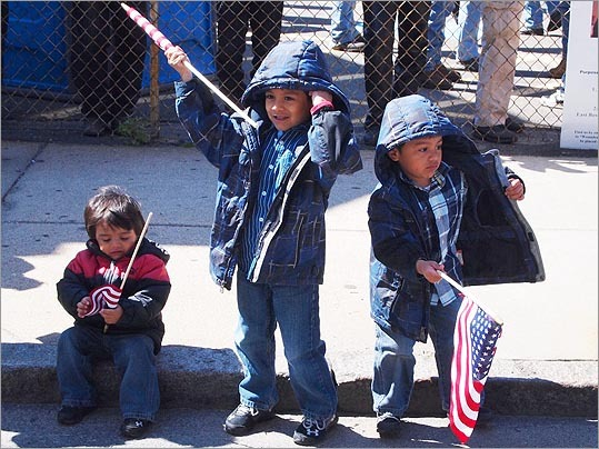 East Boston residents Samuel Nuñez, 2; Victor Nuñez, 5; and Daniel Nuñez, 4; got into the patriotic spirit of the event.