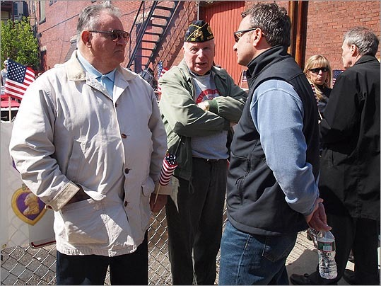 East Boston's District City Councilor Salvatore LaMattina, spoke with veterans at the barbecue.