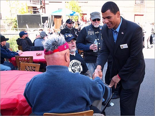 Boston Commissioner of Veterans Services Francisco Urena spoke with veterans at the event.
