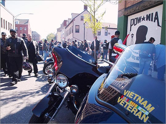 Motorcycles and motorcyclists lined Paris Street outside the American War Veterans Post 6 and for blocks around the site on Saturday afternoon.