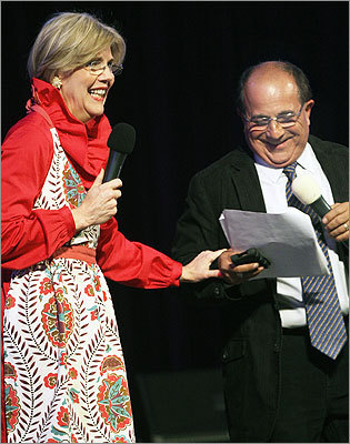 April 27 in Boston From left: Elizabeth Warren and Car Talk host Ray Magliozzi acted together in a skit entitled 'Fatal Application.'