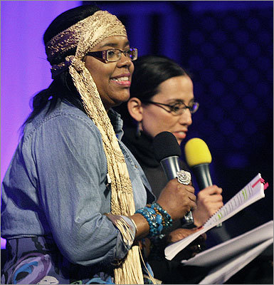 April 27 in Boston From left: Gittens and state Senator Sonia Chang Diaz acted together in a skit entitled 'The Real Housewives of Cambridge.'