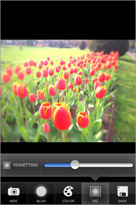 TiltShift Generator By Arts & Mobile. Free for basic features, 99 cents for higher resolution and album upload. For iOS only. Tilt shift is a camera effect that blurs the edges of a picture, creating an optical illusion that makes everything in the photo look miniature. You can control where and how much blurring to produce. You can also determine how much darkening around the corners you want to produce a vignette effect. You can also adjust the saturation, brightness, and contrast.