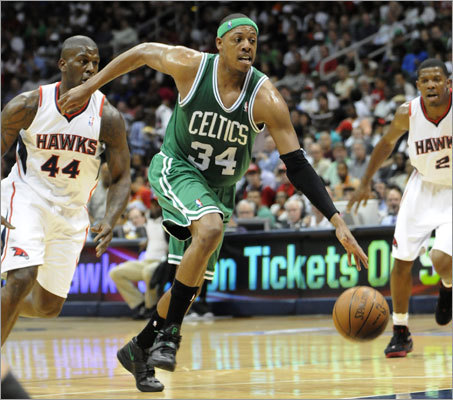 Celtics captain Paul Pierce scored 36 points and had 14 rebounds to lead the Celtics to an 87-80 victory over the Hawks in Game 2 of their first-round playoff series on Tuesday in Atlanta. The series is tied 1-1 with Game 3 on tap Friday in Boston.