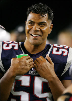 In his first season with the Patriots Seau started in 10 games and recorded 39 tackles and one sack.