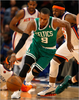 Rajon Rondo, Game 3, 2011 first round vs. Knicks Pierce wasn't the only dominant Celtic in Game 3. Rondo turned in one of the better all-around performances by a point guard in playoff history, putting up 15 points, 11 rebounds, and 20 assists in a 113-96 win in New York.