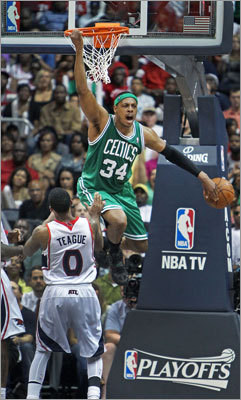 "Paul Pierce: Game 2, 2012 first round vs. Hawks Pierce scored 36 points and grabbed 14 rebounds in 44 minutes as the Celtics prevailed on the road -- without Rajon Rondo (suspended) or Ray Allen (injury) -- to tie the series 1-1. 'It ranks right up there,' Celtics coach Doc Rivers said. ""Factor in no Ray and no Rondo. Literally, we don't win the game if Paul doesn't play like that. He knew that, and so did they.''"