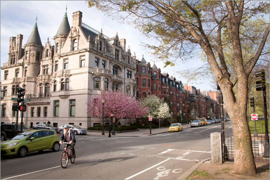 COMMONWEALTH AVENUE: Boston Comm. Ave., as it's affectionately known by locals, got the most votes in our survey by far. Between the Public Garden and Kenmore Square, the street's shaded mall and classical revival, Art Nouveau, and French Renaissance row houses make it the grand centerpiece of tony Back Bay. 'People who live on Comm. Ave.,' said Diane Keliher of Keliher Real Estate on Newbury Street, 'won't put their place on the market until they find another place on Comm. Ave. to buy.' Prices start around $800 per square foot for a small studio and go to more than $1,200 per square foot for an elevator penthouse.