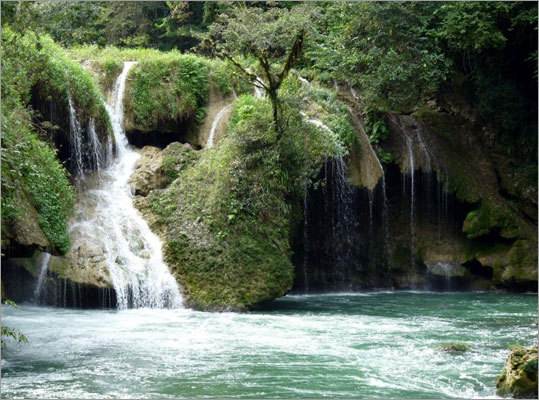 A waterfall in Semuc Champey, Guatemala.