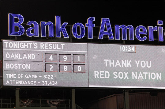 After the game, a video screen shows the 'attendance' number for Wednesday's game. MLB rules allow a team to count the total number of tickets it distributes for a game rather than the paid attendance. For the Red Sox, that includes an average of 800 complimentary tickets given to charities and others.
