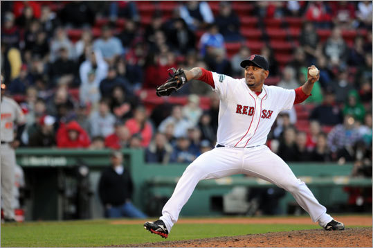 Franklin Morales was one of nine pitchers the Red Sox used. Morales pitched the 11th and 12th innings, and allowed two hits and no runs.