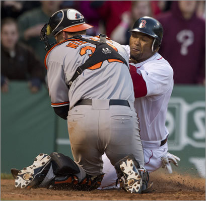 The Red Sox were denied a chance to win Sunday's finale of their series vs. the Orioles when Marlon Byrd was thrown out at the plate trying to score in the bottom of the 16th inning. The Orioles went on to win 9-6 in the 17th inning.