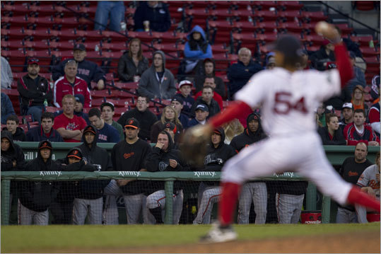Darnell McDonald pitched the 17th inning for the Red Sox and gave up the game-winning home run to Orioles outfielder Adam Jones. Jones belted a three-run blast into the Monster seats at Fenway Park. McDonald was the losing pitcher.