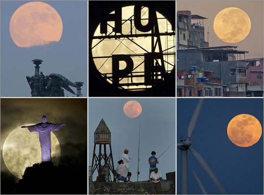 The 'supermoon,' a full moon that is at its shortest distance to the earth during the year and therefore appears at its biggest and brightest, has created some unique photo opportunities around the world. Here is a collection of views. Read more.