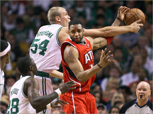 Celtics forward Greg Stiemsma stole the ball from the Hawks' Tracy McGrady in the first half.