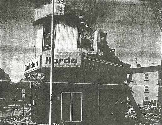 Golden Horde Restaurant The Chinese restaurant burned down in 1974 and demolished the whole block. There was a wave of arson fires across Cambridge in the '70s. Car thefts and other crimes were up. Today, the Cambridge Savings Bank stands in its place.