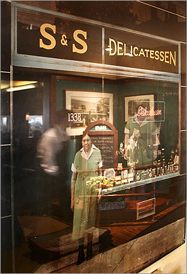 S&S Deli The first S&S Deli opened in 1919 and has been owned and operated by four generations of family. The lady on the menu, Ma Edelstein bought the deli from her uncles in 1919. She encouraged her visitors to 'es and es,' the Yiddish phrase for 'eat and eat.' Pictured: A photo of Ma Edelstein, founder of S&S Deli, hangs behind the cash register of the restaurant.
