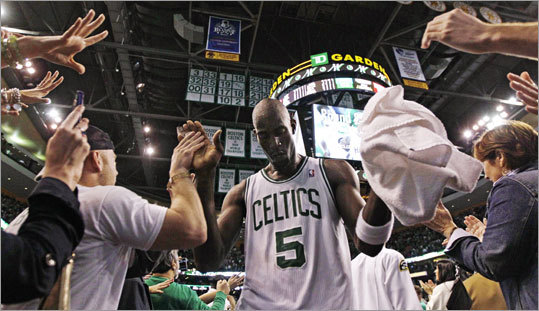 Celtics forward Kevin Garnett played a huge role in the Celtics' 83-80 victory over the Hawks in game 6 of their first-round NBA playoff series. Garnett and the Celtics clinched the series, 4 games to 2.